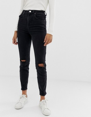 ASOS DESIGN high rise farleigh 'slim' mom jeans in washed black with busted knees