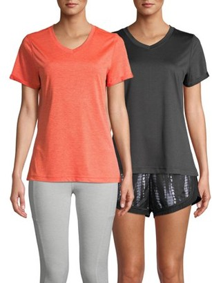 Athletic Works Women's Athleisure Heathered V Neck Tee (2-Pack)