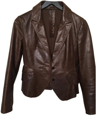 Patrizia Pepe Brown Leather Leather Jacket for Women Vintage