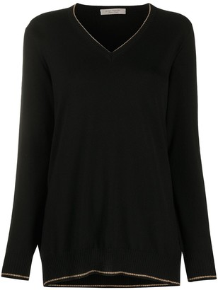 D-Exterior Metallic-Thread V-Neck Jumper