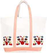 Vanessa Bruno leather-trimmed embroidered tote - women - Linen/Flax/Leather - One Size