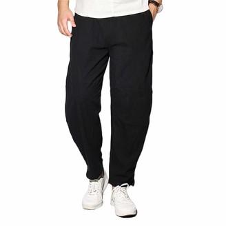 Makingda MaikingDa Men's Plain Loose Lounge Linen Harem Pants with PocketDrawstring Home Wide Leg Trousers Comfortable Pajamas Bottom Yoga Pilates Dance-Black-5XL