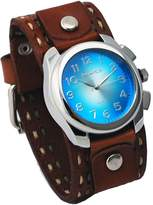 Nemesis #LBDT091L Men's Wide Brown Leather Cuff Band with Stitching Sunburst Dial Watch
