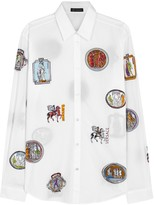Versace White Badge-print Poplin Shirt