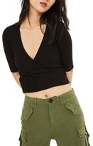 Topshop Women's Crop Wrap Top