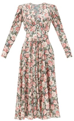 Paco Rabanne Gathered Paisley And Floral-print Satin Dress - Light Pink