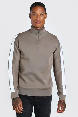 boohoo Mens Beige Knitted Half Zip Jumper With Stripe Detail, Beige