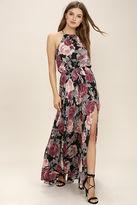 LuLu*s Evening Escape Black Floral Print Maxi Dress
