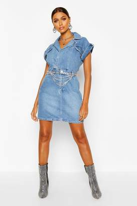 boohoo Belted Double Breasted Denim Dress