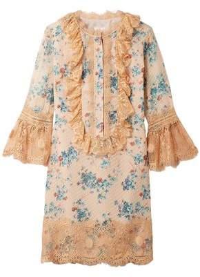 Anna Sui Decoupage Lace-trimmed Fil Coupe Silk-blend Mini Dress