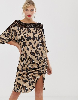 Liquorish shift dress in satin leopard print with lace cutout detail and ruched side-Multi