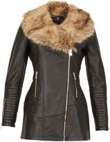 Izabel London Black Faux Fur Trim Biker Jacket