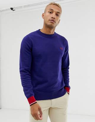 Fred Perry crew neck cotton mix jumper in navy