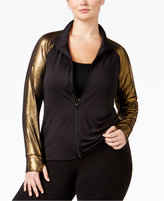 Material Girl Active Plus Size Metallic-Sleeve Jacket, Only at Macy's