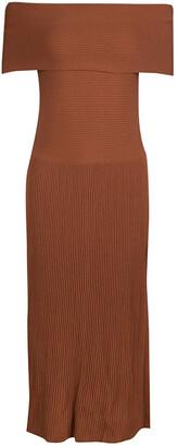 Elizabeth and James Brown Ribbed Knit Off Shoulder Marbella Dress S
