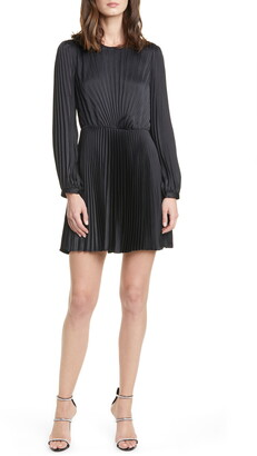 A.L.C. Tavi Pleated Long Sleeve Minidress