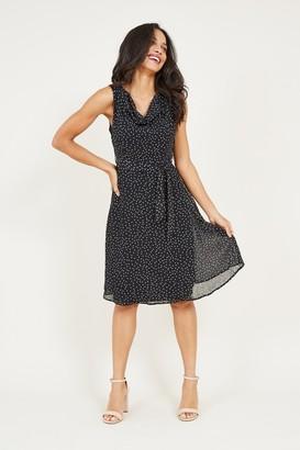 Yumi Black Polka Dot Skater Dress