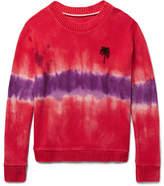 The Elder Statesman Tie-dyed Palm Tree-intarsia Cashmere Sweater - Crimson