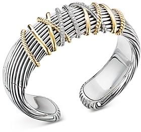 David Yurman Sterling Silver & 18K Yellow Gold Helena Diamond Cuff Bracelet