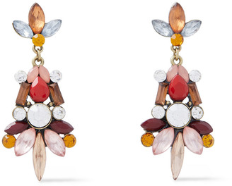 Kenneth Jay Lane Burnished Gold-tone, Crystal And Stone Earrings