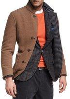 Brunello Cucinelli Reversible Houndstooth Wool-Silk-Cashmere Jacket