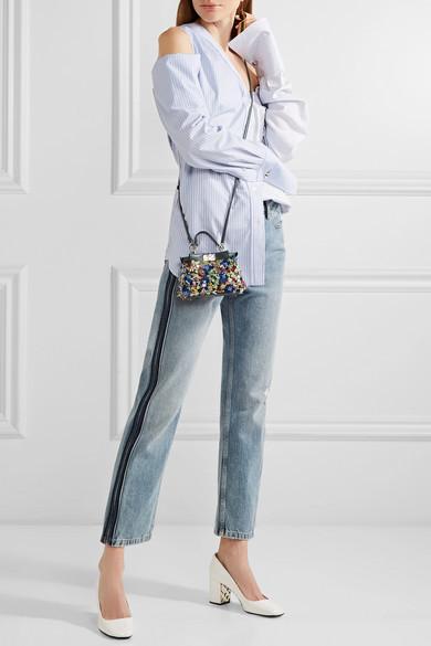 Fendi Peekaboo Micro Appliquéd Leather Shoulder Bag - Teal