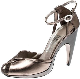 Salvatore Ferragamo Metallic Bronze Leather Ankle Strap Sandals Size 37.5