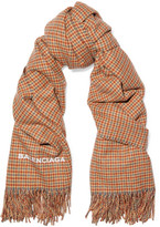 Balenciaga Houndstooth Cashmere And Wool-blend Scarf - Beige