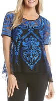Karen Kane Sheer Embroidered Lace Top