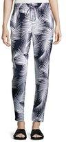 St. John Palm-Print Drawstring Pants, Navy/Bianco