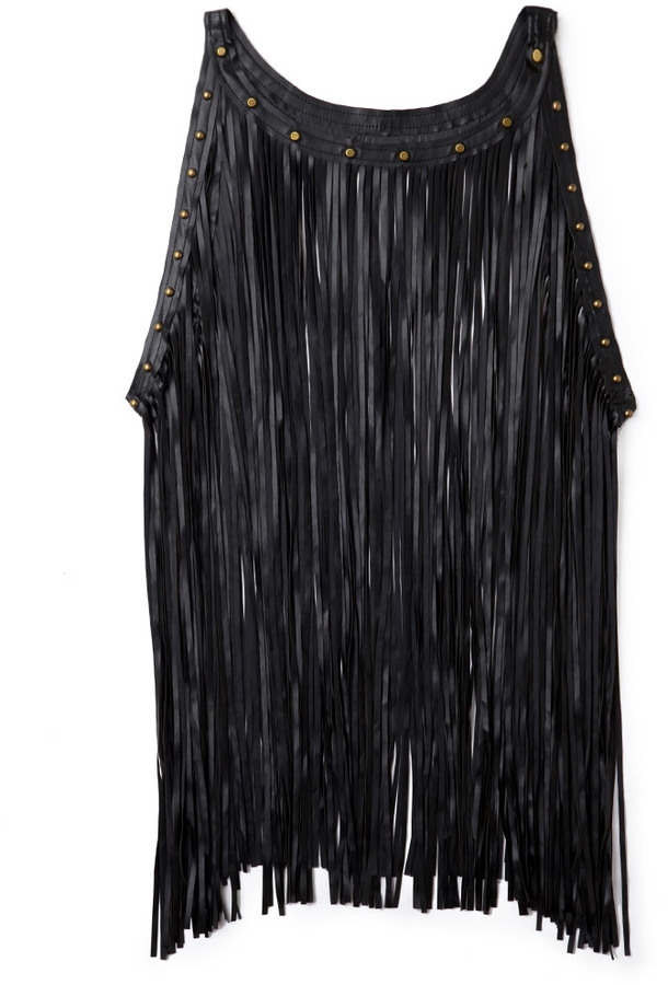 Forever 21 Faux Leather Fringed Top