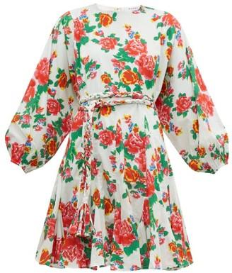 Rhode Resort Ella Floral Print Cotton Mini Dress - Womens - Pink Print