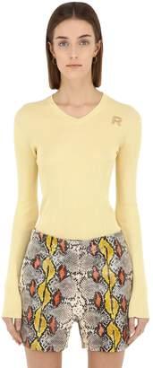 Rochas Cotton Rib Knit V Neck Sweater