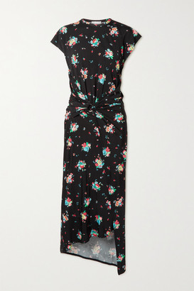Paco Rabanne Knotted Floral-print Stretch-jersey Midi Dress - Black