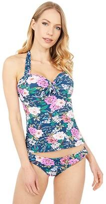 Jessica Simpson Gardenia Paradise Bow Halter Tankini Top (Dark Navy Multi) Women's Swimwear