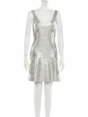 Herve Leger Scoop Neck Mini Dress Silver