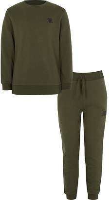 River Island Boys khaki RVR sweatshirt outfit
