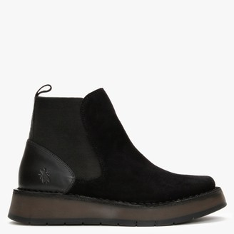 Fly London Raya Black Suede Chelsea Boots