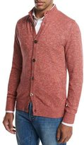 Isaia Stand-Collar Mélange Cardigan, Lava Red
