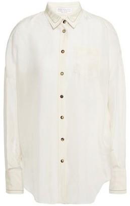 Brunello Cucinelli Bead-embellished Silk-chiffon Shirt