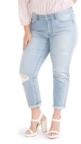 Plus Size Women's Addition Elle Love And Legend Distressed Embroidered Slim Leg Jeans