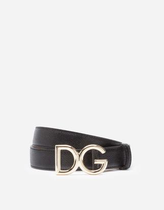 Dolce & Gabbana Dauphine Calfskin Belt With Logo