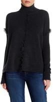 Velvet by Graham & Spencer Fringe Trim Cashmere Turtleneck Sweater