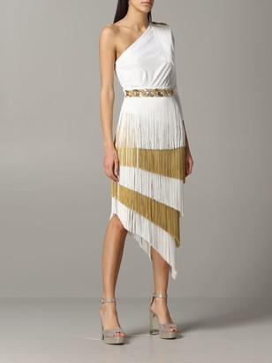 Elisabetta Franchi One-shoulder Dress With Fringes