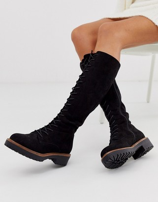 Asos Design DESIGN Courtney chunky lace up knee high boots