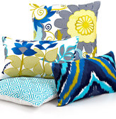 "Trina Turk Trellis Turquoise Flower Garden 20"" Square Decorative Pillow"