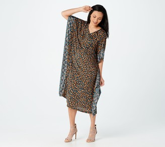 Joan Rivers Classics Collection Joan Rivers Petite Animal Print Caftan with Border Detail