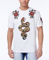 Reason Men's Snakes & Roses Cotton White Appliqué T-Shirt
