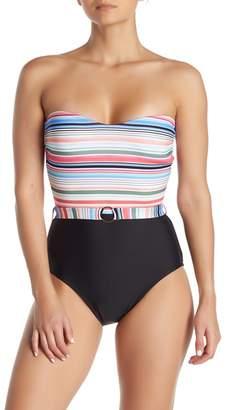 Athena Multicolor Stripe Bandeau One-Piece Swimsuit