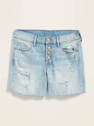 Old Navy Mid-Rise Distressed Button-Fly Cut-Off Jean Shorts for Women -- 5-inch inseam